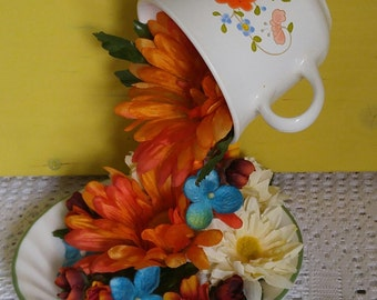 Orange Floral Floating Cup and Saucer