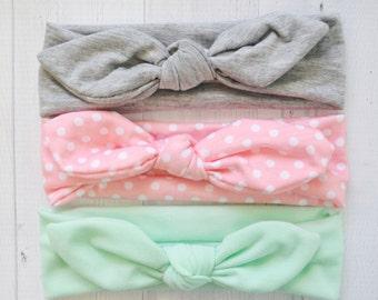 Set Of 3 Top Knot Head wrap, Jersey Knit infant headband, baby headband, newborn photo prop, toddler headband, knotted headwrap