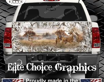 Whitetail Buck Deer Obliteration Buck Snow Camo Truck Tailgate Wrap Vinyl Graphic Decal Sticker Wrap