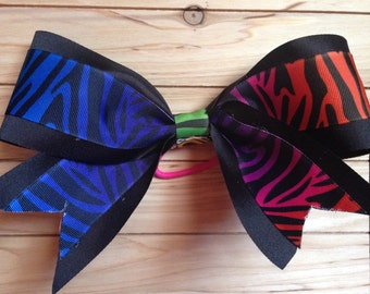 Rainbow Zebra Cheer Bow