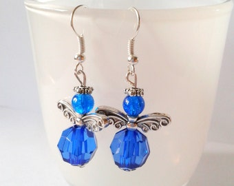 Butterfly angel blue earrings