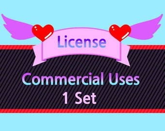 """Commercial Uses & Attribution / Credit Free License for """"1 Set"""" (Extended License)"""