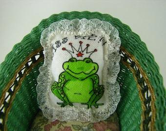 Miniature Frog Pillow-Miniature Pillow-Frog Pattern Pillow-Miniature Frog-OOAK