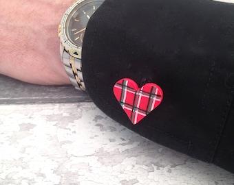 Red Tartan Heart Cufflinks - Polymer Clay Men's Cufflinks, Scottish Gifts, Grooms Gift, Best Man Gift, Wedding Gift