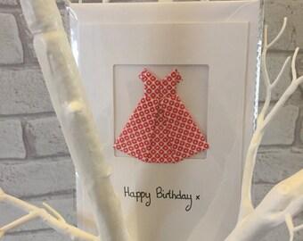 Origami dress birthday card, cute birthday card, girls birthday card, origami card, personalised birthday card