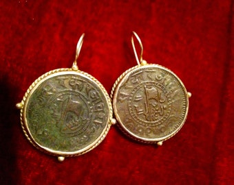 Antique indian coins mounted with sterling silver