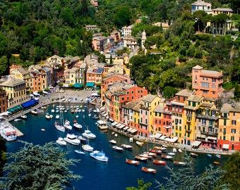 Portofino Italy, Italy Wall Art, Print Of Portofino Italy, Ligurian Coast Italy, Portofino From Above, Italy Decor, Italian Coast