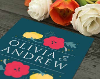 Floral Wedding Stationery Set | Invitation | RSVP | Save the Date | Printed or Printable | Customisable