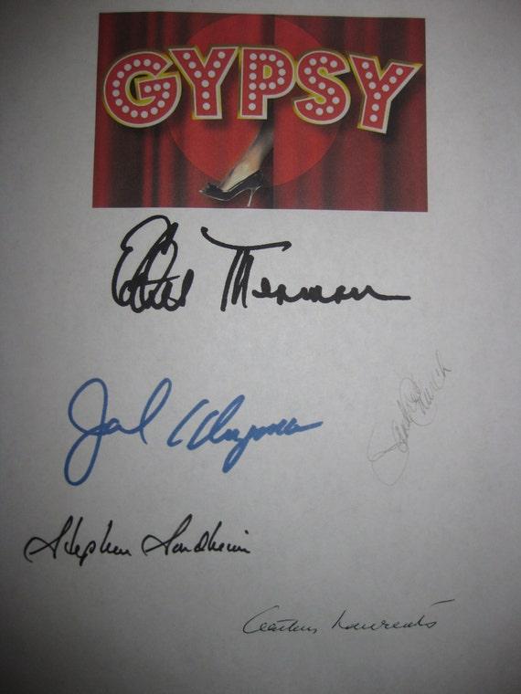 Gypsy 1959 Broadway Musical Signed Script Screenplay X5 Autograph Ethel Merman Jack Klugman Sandra Church Stephen Sondheim Arthur Laurents