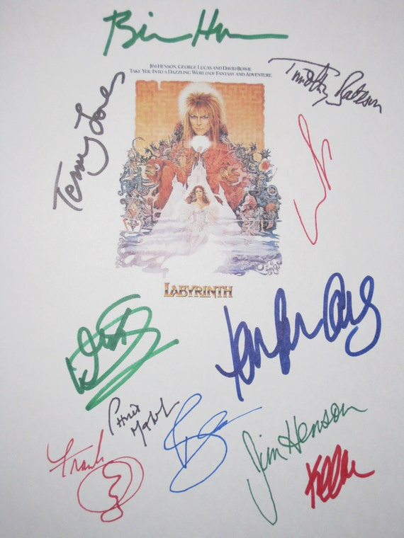 Labyrinth Signed Script Film Movie Screenplay X11 David Bowie Jim Henson George Lucas Frank Oz Warwick Davis Kevin Clash Terry Jones Malcolm