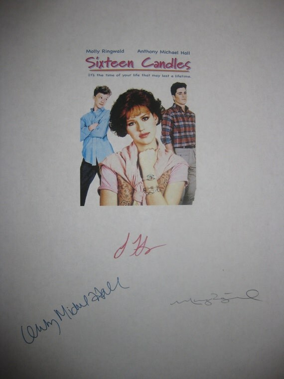 sixteen candles signed film movie script screenplay autographs