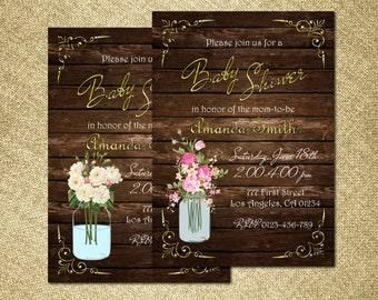 Mason Jar Baby Shower Invitation, Rustic Baby Shower Invitation, Wood Baby Shower Invitation, Country Baby Shower Invitation, Western Invite