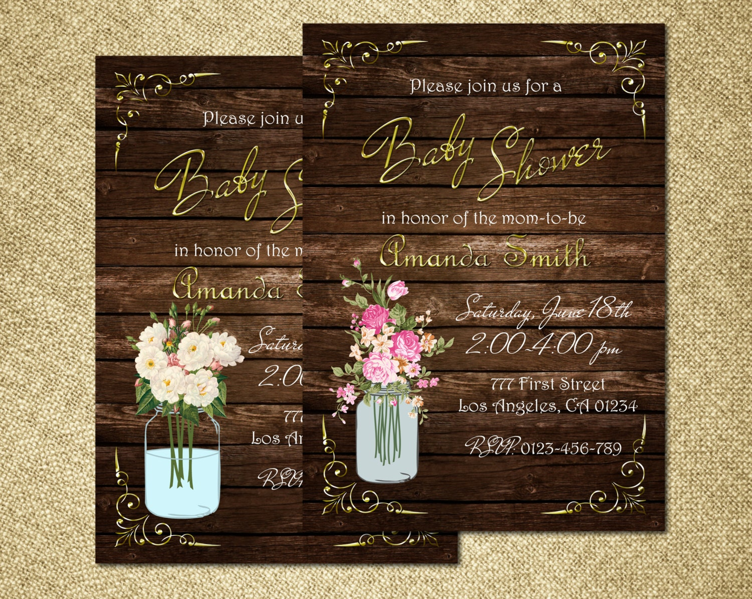 mason jar baby shower invitation rustic baby shower