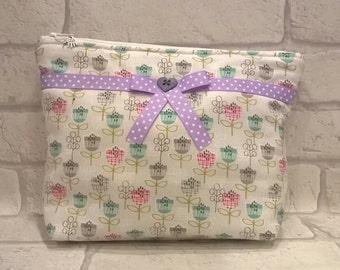 Makeup Bag, Cosmetic Bag, Wash Bag with Ribbon Trim