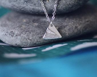 Silver Paper Plane Origami Necklace, Silver Plane, Origami Necklace, Cute Plane Necklace