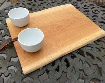 Oak Platter with Two Dipping Bowls