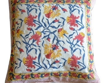 Hand Block Printed Cotton Floral Cushion Covers One Cushion Cover