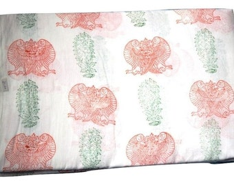 1 to 50 Yard Indian Hand Block Printed Cotton Bird Printed Fabric
