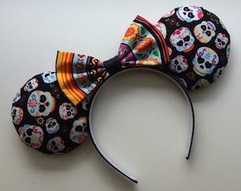 Day of the Dead Dia de los Muertos Sugar Skull Mickey Minnie Mouse Ears