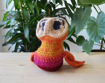 Handmade Owl knit crochet stuffed puppet