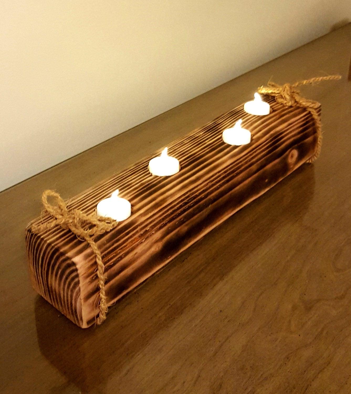 Rustic wooden tea light holder free shipping