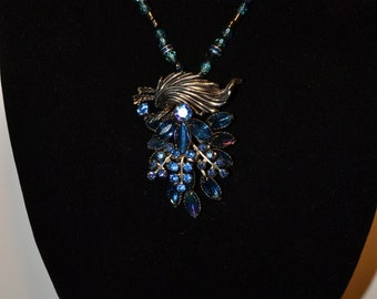 Vintage silver metal and blue pendant/necklace  (#62)
