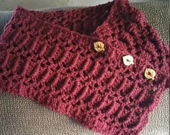 Crocheted Neck Warmer -Burgundy