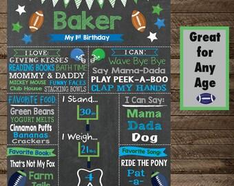 Boy's birthday chalkboard sign, Football chalkboard sign, Football Theme Birthday, First Birthday, Second Birthday, Boys Football Party, 1st