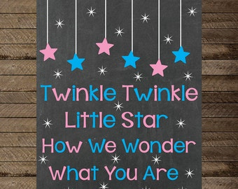 Gender reveal sign, Twinkle Twinkle Little Star, Gender reveal chalkboard sign, gender reveal decoration, digital, pregnancy announcement