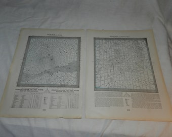 1883 Star Maps showing constellations from different points on the globe - 3 pages from vintage Book with 6 images- Frameable Ephemera 31-60
