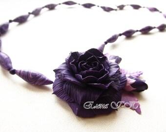 Beaded necklace «Dark rose»