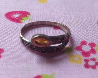 Ring Vintage silver and amber Hematite size 60