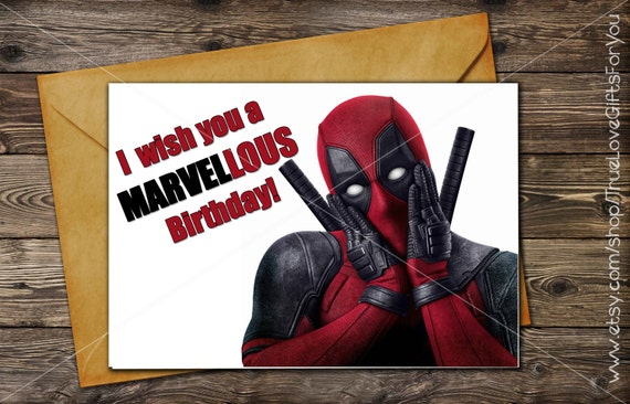 DEADPOOL Birthday Card // Printable Greeting Card / Instant