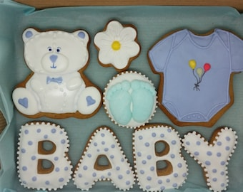 Baby shower cookies, christening cookies, christening gift, baby shower gift, baby boy, cookies, biscuits favours