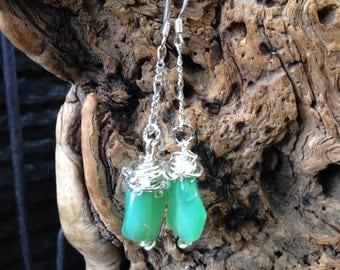 Aqua/turquoise bead wrapped drop earrings