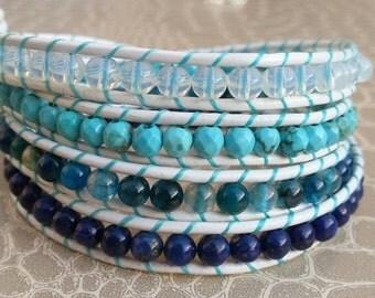 Bracelet wrap leather 4 rounds blue