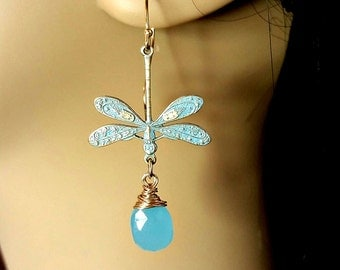 Sky Blue Dragonfly Earrings with Blue Chalcedony Dangle Drop