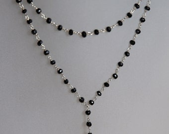 Necklace in black spinel and 925 sterling silver. Hand made.