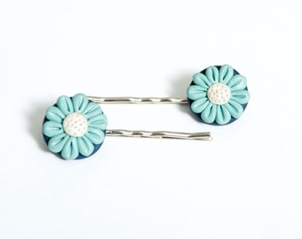 Blue Flower Polymer Clay Bobby Pins Hand & Clay