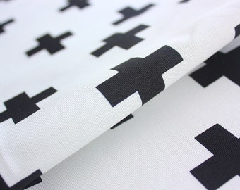 Cross Fabric / Plus Fabric/ Monochrome / Black and White / Buzoku / Cotton Duck / Home Decor Handbag Cushion Quilt Patch Rug / Half Metre