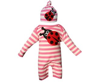 Cute Ladybird Romper & Hat Set, Custom Made, New Baby, Newborn Baby, Baby Girl, Baby Shower, Ladybird, Ladybug, Fair Trade, Onesie, Stripe,