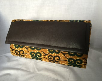 African print clutch bag orange and green/ Pochette Africaine