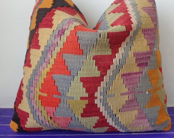 50x50cm large kilim pillow wool large pillow cover - 223b