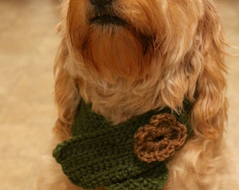 Green Crocheted Dog Collar Scarf with Flower
