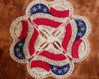 Embroidered Patriotic Doily Coaster