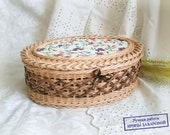 Wicker oval box Woven box Gift idea for woman Beige Paper basket Handmade basket Birthday Home decor For her Jewelry box Storage Rustic