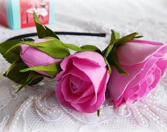 Flower crown Pink realistic flowers Pink rose wreath Hair hoop flower Floral wreath Headband with flower Romantic crown Floral headpiece