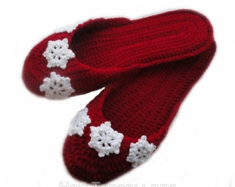 Crochet  slippers, New Year, white snowflakes, Christmas gift,comfy slippers