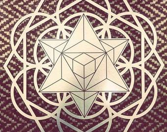 Brushed Aluminum Sacred Geometry Merkaba Mandala Wall Decor
