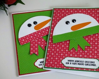 Snowman Christmas Card, Set of 2, Christmas Card Set